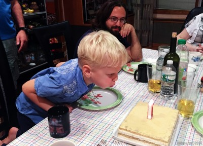 Blowing the candle out for Anюta.