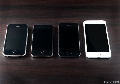 iPhone 3G, iPhone 4, iPhone 5, iPhone 6.