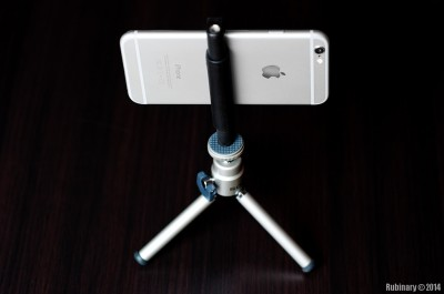 iPhone mounted on tripod via Glif by Studio Neat.