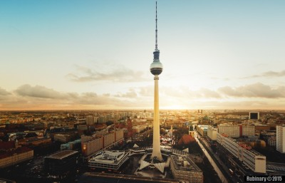 Cityscape of Berlin with Berlin TV Tower from the roof of Park Inn.