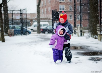 Kids in snow.
