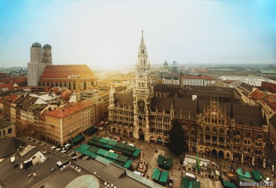 Frauenkirche and Neues Rathaus. Taken from the top the tower of Saint Peter's Church.
