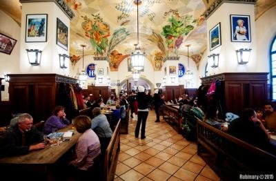 Inside Hofbräuhaus.