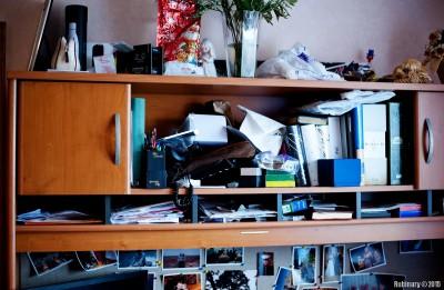 Desk mess.