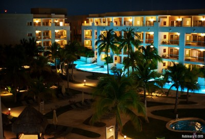 Resort at night.