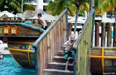 Pirate ship at the kids' pool.