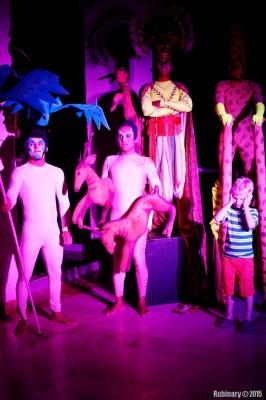 Arosha with theater crew.