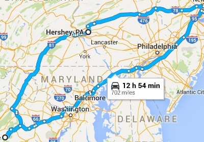 Map of our planned Shenandoah Trip.