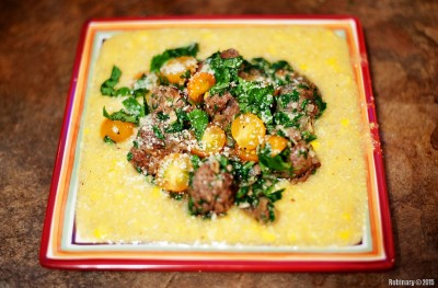 Pesto Meatballs and Fresh Corn Polenta.