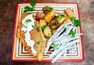 Catfish and Roaster Potatoes.