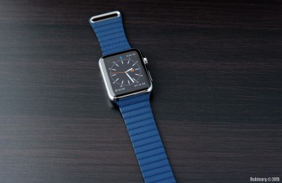 Apple Watch. 42mm Stainless Steel Case Watch with Bright Blue Leather Loop.