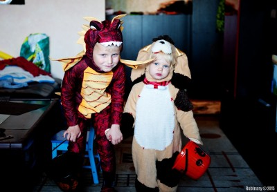 Getting ready to go trick or treating.