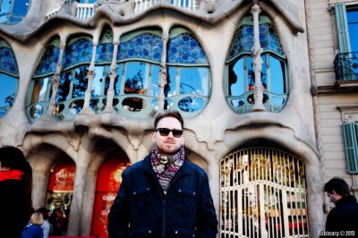 In front of one of Gaudi's buildings.