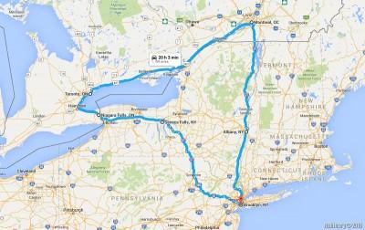 Canada 2016 road trip map.