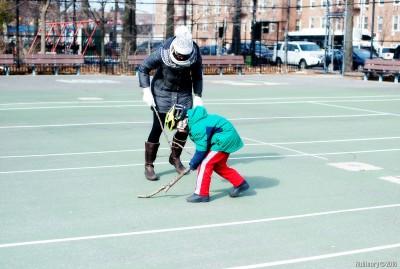 Stick hockey.
