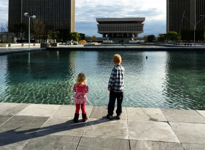 Kids by one of the fountains.