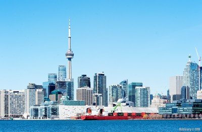 Toronto skyline from Polson Pier.