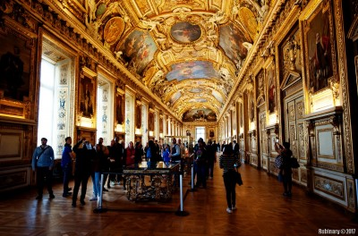 One of very many halls inside Louvre.