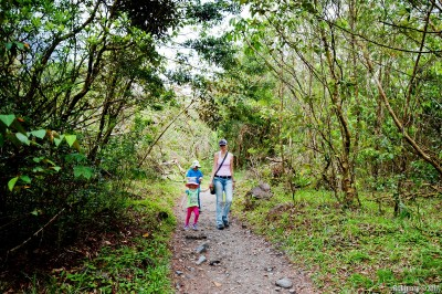 On a trail at Arenal National Park.