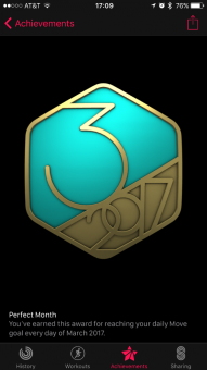 March move goal medal.