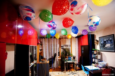 Baloons. Evening before the birthday.