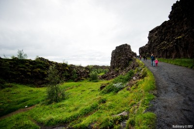 Trail through Thigvellir National Park.