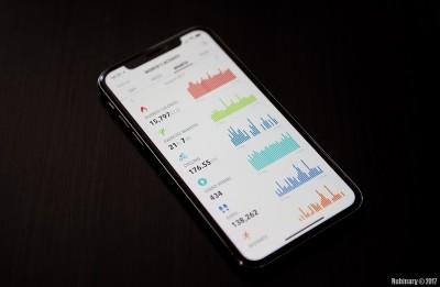 iPhone X. HealthView app.