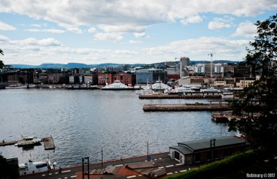 View of Aker Brygge from Akershus Fortress.