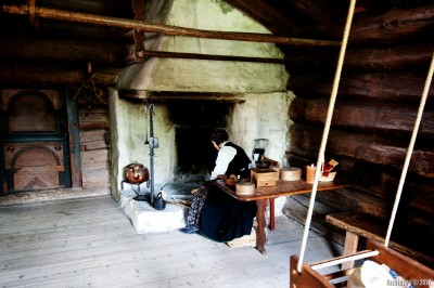 Inside one of the houses at Norwegian Folk Museum.