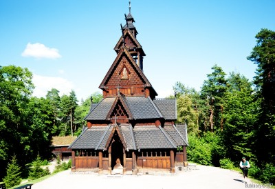 Wooden church at Norwegian Folk Museum.