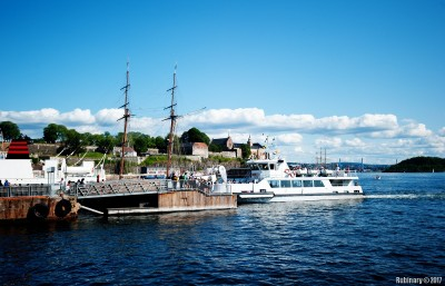 Ferry to Bygdoy. Akershus Fortress in the background.