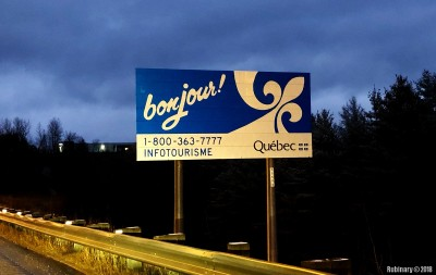 Entering the province of Quebec.