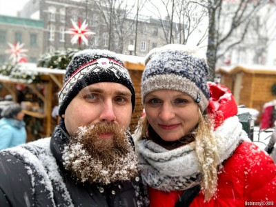 Snow and a snowy beard.