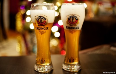 Authentic Erdinger beer glasses.