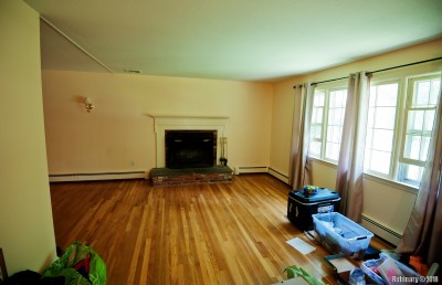 Empty family room with a wood-burning fireplace.