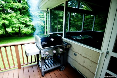 Grill on the uncovered part of the porch.