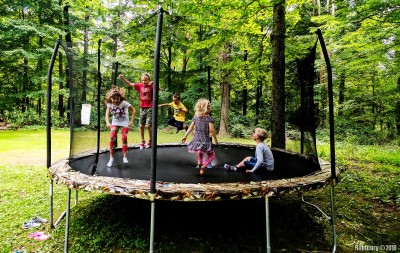 Kids on trampoline.