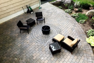 Patio. Around the firepit.