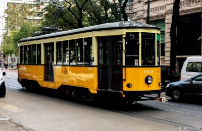 Yellow tram of Milan.