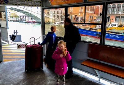 Waiting for a water bus in Venice.
