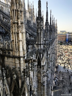 View from the roof of Milan Cathedral.
