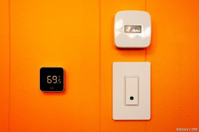 Eve Degree, Eve Motion and Wemo Switch on the office wall.
