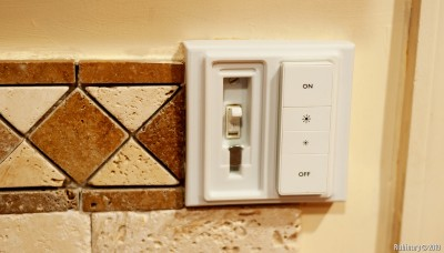 3D printed wall plate for Hue Dimmers on top of toggle switches.