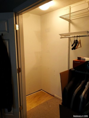 Walls are patched and painted. Old cheap closet system is next to go.