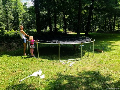 Arosha always loved trampolines. None of his friends would really let him jump on them freely. Some were downright mean. So when we finally had a massive backyard we could not not buy one. We put it together right after the septic install was done. And our kids love it. A year in and it gets used on multiple occasions almost every week.
