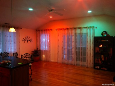 Our living room and kitchen spot lights are filled with Phillips Hue color bulbs. We had a bunch of themes programmed for the top floor.