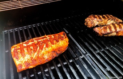 Salmon and steak.
