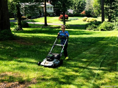 I'll start from the end. This is our little helper mowing the lawn just this past weekend.