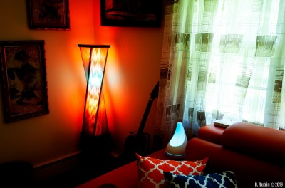 Hue bulbs in a floor lamp.