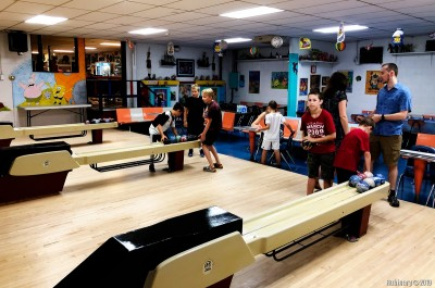 Duckpin bowling with friends.